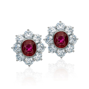 Ruby diamond cluster earrings