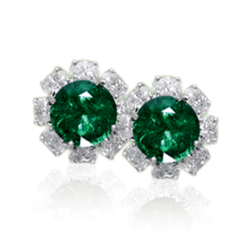 Emerald diamond cluster earrings